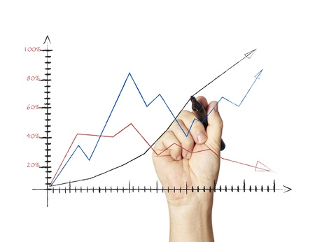 hand drawing a graph   Stock Photo