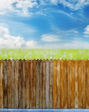 wooden fence over the courtyard with sky  Stock Photo