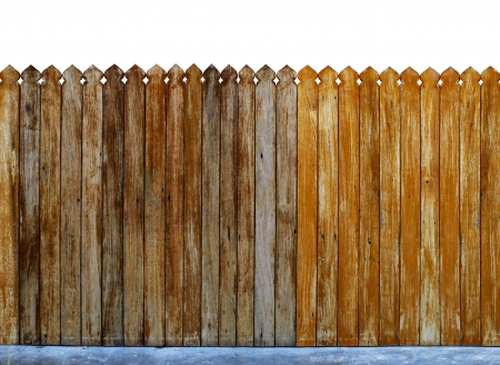 fence panel: wooden fence over the white backgroynd  Stock Photo