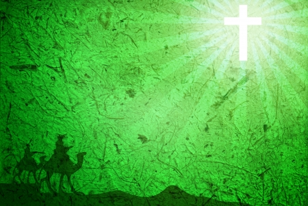 antique jesus: Green Background