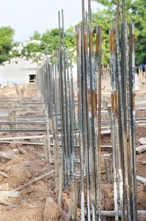ceiling slab: Steel rods or bars used to reinforce concrete