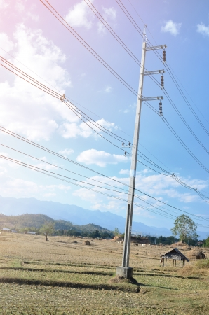 steel tower: power tower and transmission lines