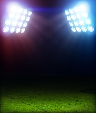 soccer field: Grass Playing Field 3D under colored Spotlights