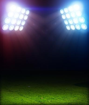 terrain foot: Herbe Playing Field 3D sous les projecteurs de couleur
