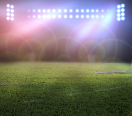soccer field: stadium lights at night