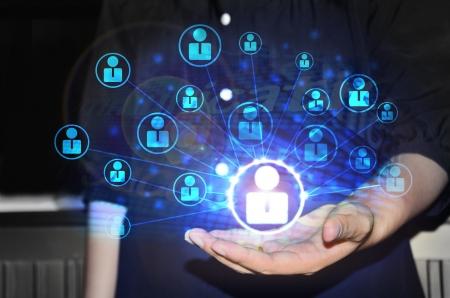 networking people: de negocios que trabaja con la nueva computadora moderna