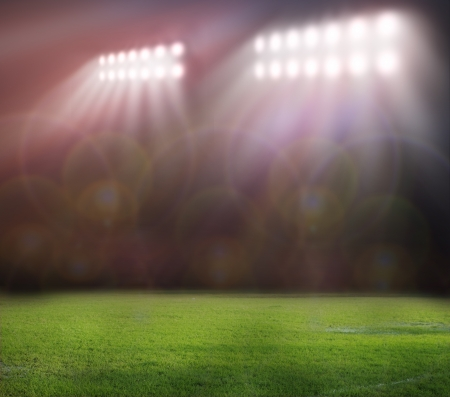 american football: stadium lights at night and stadium Stock Photo