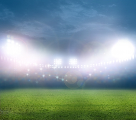 soccer field: stadium in lights and flashes