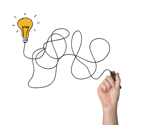 hand drawing light bulb  Banque d'images