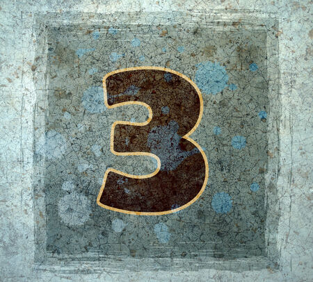 3rd ancient: number three  Stock Photo