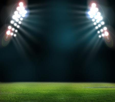voetbalstadion met de dright lichten Stockfoto