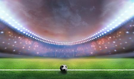 football match lawns: soccer ball on the green field