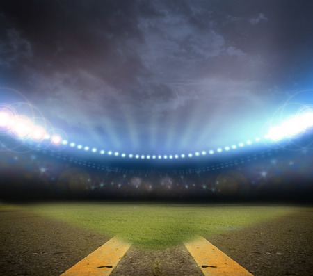 winning race: Image of stadium in lights Stock Photo