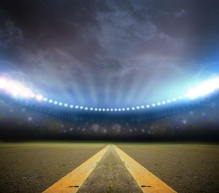Afbeelding van het stadion in verlichting