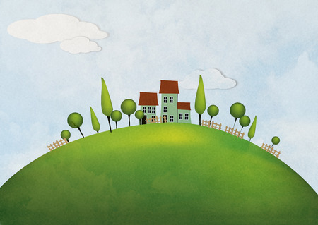 stylized landscape with a house on the hill photo