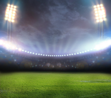 lights on: stadium in lights and flashes