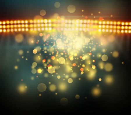cancha de basquetbol: Imagen de las luces del estadio desenfocado en la noche