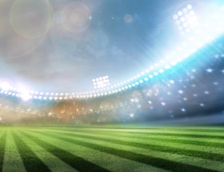 hockey cesped: luces del estadio en la noche
