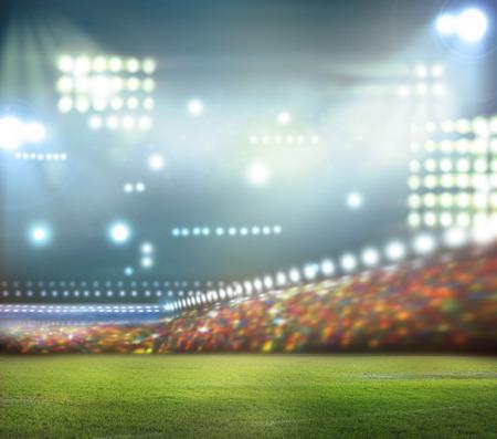 campo de beisbol: luces del estadio en la noche y el estadio