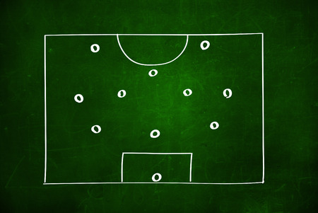 soccer tactics drawing on chalkboard photo
