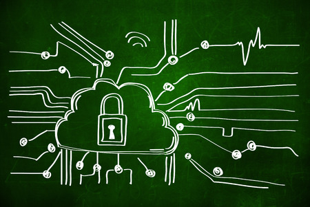 cyber security: Cyber security concep with lock. blackboard,