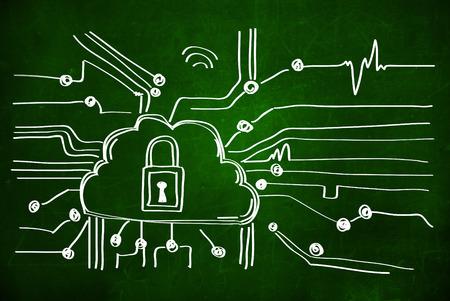 Cyber-Sicherheit concep mit Schloss. Tafel, Standard-Bild - 31738914