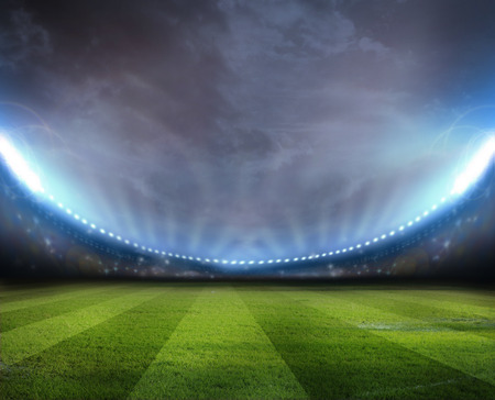 the ground: Lights at night and stadium Stock Photo