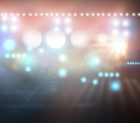 floodlit: Image of defocused stadium lights at night Stock Photo