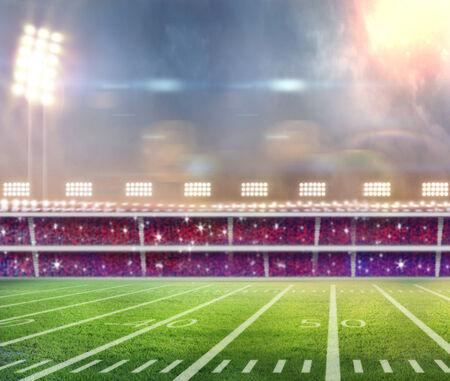 Green soccer field, row of bright spotlights, illuminated stadium in night photo