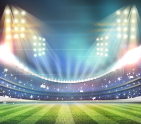 football stadium: Image of defocused stadium lights at night Stock Photo