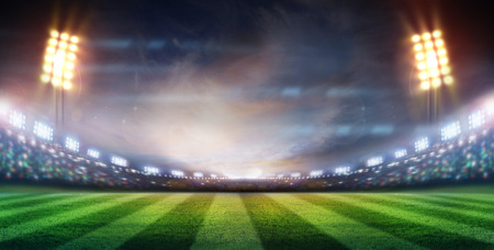 soccer sport: lights at night and stadium