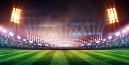 Rugby ball: luces en la noche y el estadio
