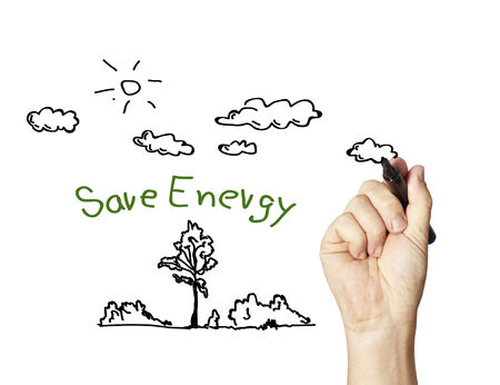 green little planet earth: drawing save energy Stock Photo