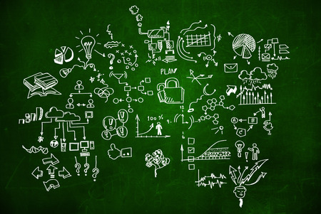 Background conceptual image with business sketches on chalkboard photo