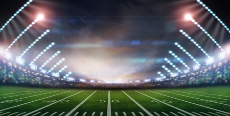 Image of defocused stadium lights at night photo