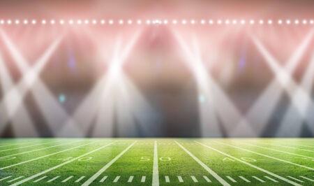 floodlit: lights at night in stadium Stock Photo