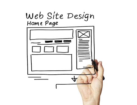web browser: business man writing the web design concepts