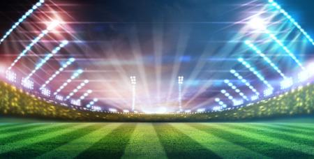 terrain foot: lumière de stade Banque d'images