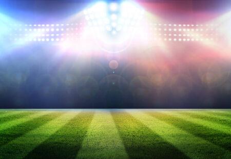 campeonato de futbol: Estadio luces juego de fútbol están brillando sobre un campo de hierba verde por un concepto de deporte. Foto de archivo