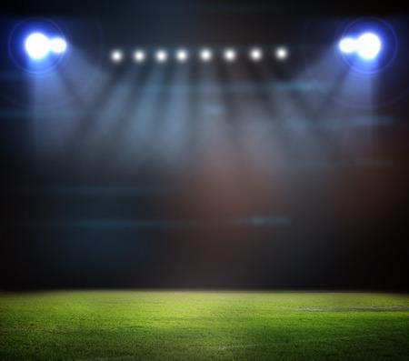 グリーン スタジアムでサッカー ボール 写真素材