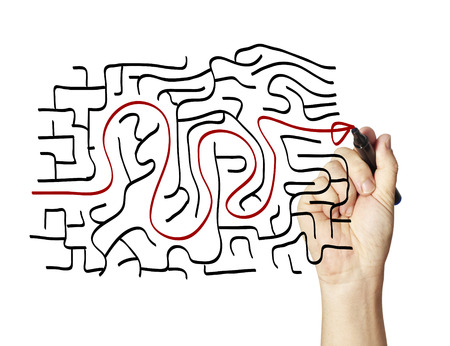 complicated: drawing the way out through a maze.