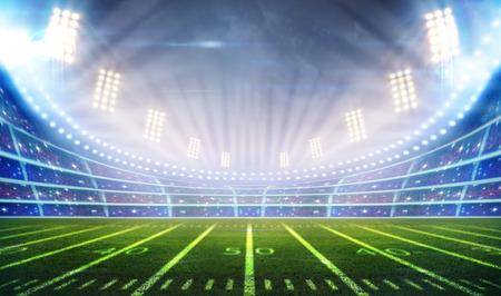 football kick: lights at night and stadium