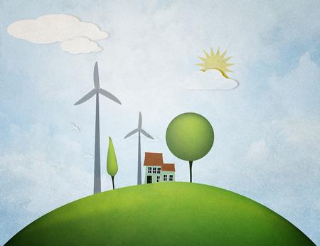 industrial park: windmills on sunset background