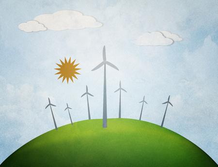 industry park: windmills on sunset background