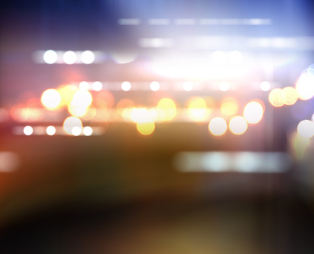city lights blurred bokeh background Stock Photo