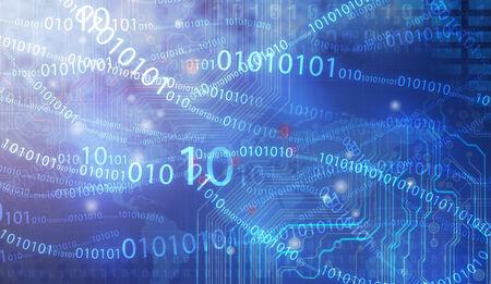 nexus: Blue binary computer code repeating Stock Photo