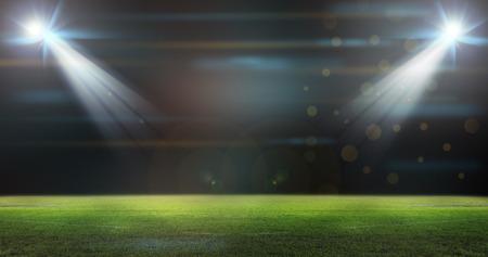 gradas estadio: Campo de fútbol verde, focos brillantes,