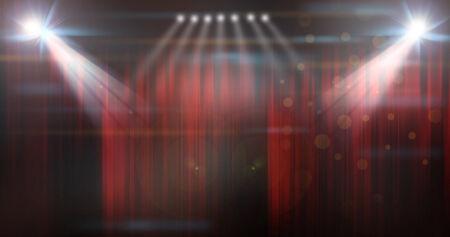 stadium van de voorstelling met gesloten rode gordijnen Stockfoto