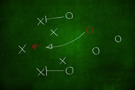 Voetbal play strategie uitgetekend op een krijtbord