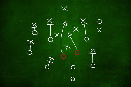 Voetbal play strategie uitgetekend op een krijtbord Stockfoto